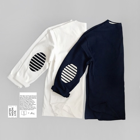 STRIPED PATCH TOP (OFF WHITE/DARK INDIGO)