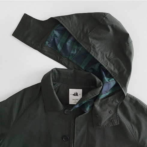DETACHABLE HOODED RAIN MAC COAT (HUNTER GREEN)