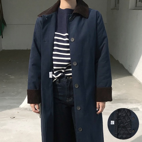 CLASSIC PADDED MAC COAT IN MIDNIGHT BLUE